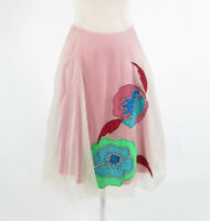 Ivory pink abstract 100% silk PLENTY BY TRACY REESE sheer overlay A-line skirt 0