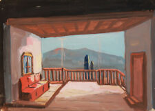 Antique European gouache painting impressionism house interior terrace