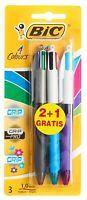 BIC 4 Multi Colour Grip Pro Fashion Fun Ball Point Pen 3 Pack