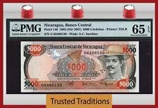 TT PK 146 1985 NICARAGUA 5000 CORDOBAS PMG 65 EPQ GEM UNCIRCULATED POPULATION 1!