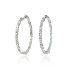 Dazzling Diamond Hoop Earings  14K White Gold, 0.98 CTW, Mad Nights
