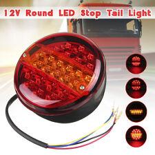 12V/24V LED Tail Rear Round Hamburger Light Indicator Lamp Truck Trailer Caravan