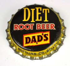 Vintage Diet Dad 's root beer bière capsules usa Belleville II BOTTLE soda Cap