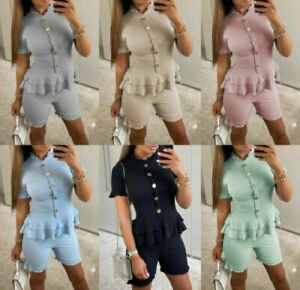 Ladies Womens Fine Ribbed Short Sleeve Frill Button Shorts Set Co ord Loungewear