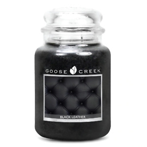 ☆☆BLACK LEATHER☆☆LARGE GOOSE CREEK CANDLE JAR 24 OZ.☆☆FREE SHIPPING