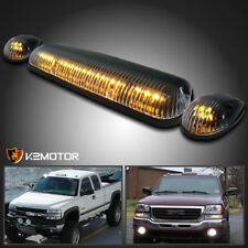 Amber LED Cab Roof Top Lights Marker Running Lamps Clear 3Pcs Set