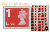 100 Royal Mail Large Letter 1st Class Stamps self adhesive Free P&P