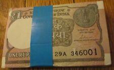 India Gandhi 1 Rupee x 100 Bundle Crisp 100 Notes Consecutive Numbers Brand New