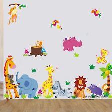16s1-jungle Animale / Giraffe / gufo / FOX / Koala / Leone / Monkey Nursery parete Adesivo Decalcomania