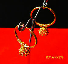 Yellow Gold Plated earrings hoop Dangle indian fashion jewelry uk seller  E1
