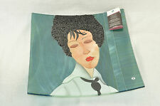 SEBINO ARTE Square Platter Fused Glass Modigliani Woman Black Tie Hand Made New