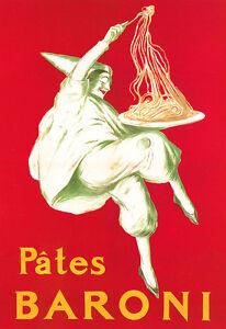 Pates Baroni - Spagetti Pasta Deco Restaurant Kitchen A3 Art Poster Print