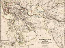 Echte alte Landkarte Constantinopel Antiochia Jerusalem Damaskus Aleppo 1876