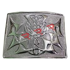 Scottish Highland Kilt Belt Buckle Celtic Modern Thistle Knot Chrome Finish