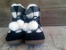 Womens Mad Love boots slippers faux furred lined BACK WHITE Size 5/6