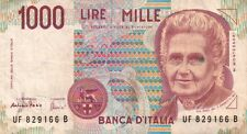 BANCONOTA ITALIANA DA 1000 LIRE MONTESSORI SERIE UF SC-7