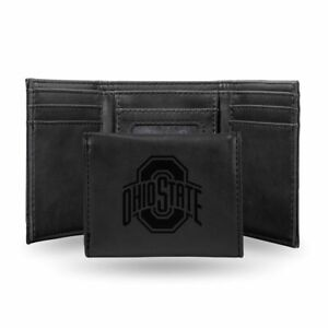Ohio State Buckeyes Laser Engraved Black Synthetic Leather Trifold Wallet