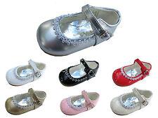 Niña Zapatos Fiesta Boda Bautizo Dama de Honor Diamante Espárragos 1,2,3,4,5,6