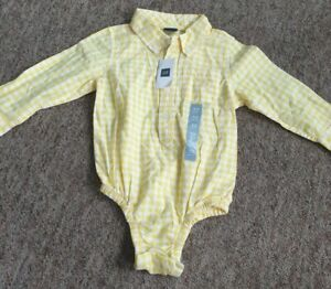 NEW Baby gap yellow checked long sleeved shirt bodysuit age 18-24 months