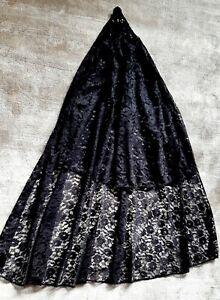 PHAZE LONG GOTHIC BLACK LACE MANTILLA WEDDING BRIDAL VEIL