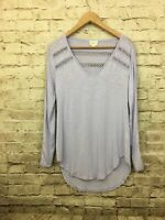 Anthropologie Deletta Lace Line Shirt Tee Small Lavender Purple Crochet Lace