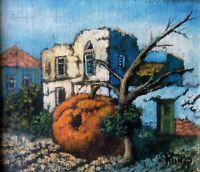 ZEEV KUN (1930-2017), Oil on Board, Surreal Landscape, Miniature,  Signed