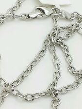 "14k White Gold Textured Oval Cable Link Pendant Necklace Chain 18"" 2.5mm"