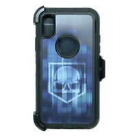 For Apple iPhone X Defender Rugged Case Cover (Clip Fits Otterbox) Blue Skull