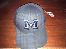 Michigan Wolverines Stretch Fit Hat (Baseball Cap) Medium/Large Subtle Plaid