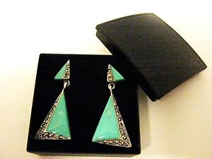Sterling Silver Turquoise Marcasite Drop Earrings 1920s Deco Vintage style boxed