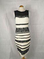 Ladies Dress Size 12 ROMAN Ivory Black Lace Trim Party Evening Wedding Races