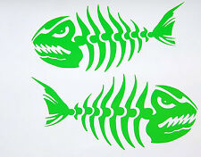BONE FISH LEFT & RIGHT VINYL DECAL LIME GREEN STICKER SET OF 2 NEW