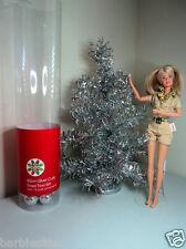 1:6 scale SILVER foil miniature XMAS CHRISTMAS TREE Barbie Doll House Furniture