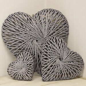 Grey rattan entwined full heart wicker hanging wreath choice of size