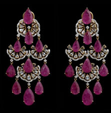 9Ct Pear Cut Ruby Simulant Diamond Chandelier Earrings Silver Yellow Gold Finish