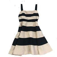 Jaeger Designer Black Cream Stripe Plus Size 16 A Line Womens Dress