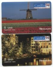 1994 AMSTERDAM CARDEX '94 5U WINDMILL & NIGHT CITYSCAPE BY CANAL PHONE CARDS