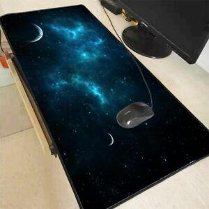 Blue Space Gaming Mouse Pad Laptop Computer Mat Keyboard Night Sky Moon Mousepad