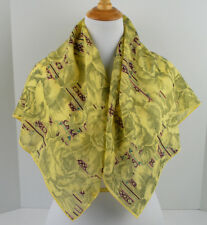 """Britches Vintage Light Yellow Floral Gray Fine Wool scarf 35"""" X 35"""""""