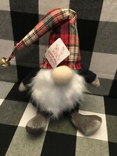 """🎄19"""" GNOME Red Tan Navy Plaid W Bell Christmas Holiday Decor ~ NWT"""