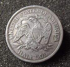 Etats-Unis 1875 S seated Liberty silver 1/2 HALF DOLLAR $ / Broche as pics !!!