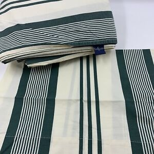 Ralph Lauren Queen 3pc Vintage Green Stripes ONE pillow Case Fitted Flat READ