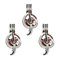5PC Pearl Beads Cage  Musical Note Open Locket Pendant 33*16mm For DIY Necklace