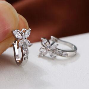 Fashion 925 Silver Wedding Butterfly Zircon Earrings Ear Hoop Women Jewelry Gift
