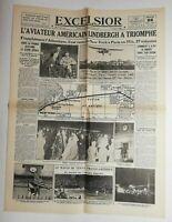 N742 La Une Du Journal Excelsior 22 novembre 1927 l'aviateur américain Lindbergh