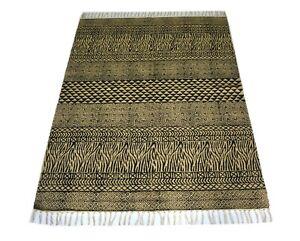 3'8''x5' Feet Block Print Rug Geometric Jute Cotton Handmade Berber Rug DN-1888