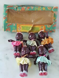Vintage 1930's Black Celluloid DOLLY SISTERS Quintuplets in Oringinal Box