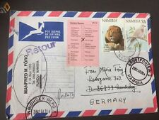 Seltener Retoure Airmail Brief Namibia Rundu nach Germany Landsberg 07.03.2001