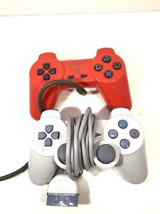 Sony PlayStation 1 PS1 PSOne Red & White Analog Official OEM Controller Lot Of 2