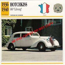 HOTCHKISS 1936 1940 680 CABOURG TOURISME VOITURE CAR FRANCE CARTE FICHE